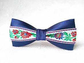 Ozdoby do vlasov - Mini Folklore hair clip (royal blue/white) - 7078005_