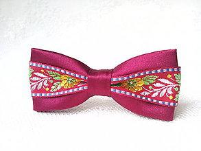 Ozdoby do vlasov - Mini Folklore hair clip (bordeaux) - 7078107_