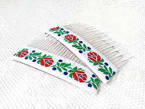 Ozdoby do vlasov - Folklore hair combs (white) - 7078269_