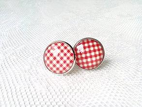 Šperky - Manžetové gombíky (červeno-biele) - 7078410_