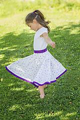 Detské oblečenie - Kruhová sukňa Bielo-fialová dlhá - 7077826_