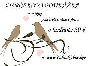 Darčekové poukážky - Darčeková poukážka 30 € - 7079469_