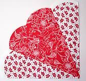 Papier - Servítka X53- Červená rozeta - 7078939_