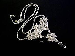Náhrdelníky - Pred polnocou (svadobný náhrdelník) - 7077490_