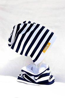 Detské súpravy - Bavlnená súprava prúžok navy s menom - 7079569_