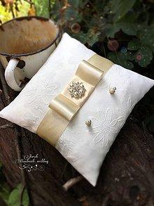 Prstene - Svadobný vankúšik Ivory - 7077317_