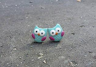 Náušnice - Tyrkysové sovičky s fialovou - 7081880_