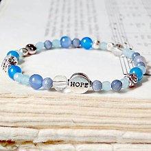 Náramky - Aquamarine & Jade Hope Elastic Bracelet / Elastický náramok s jadeitom, akvamarínom a tibetským striebrom - 7079968_