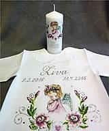 Svietidlá a sviečky - krstová sviečka s ružičkami - ružová - 7083447_