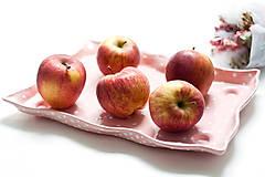 Nádoby - Ružová keramická tácka na dobroty - 7080849_