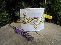 Náramky - Vyšívaný náramok so žltými kvetmi - 7082002_