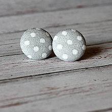 Náušnice - Náušnice zapichovačky z buttonov Sivý bodkáčik - 7083530_