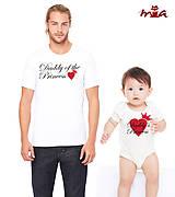Oblečenie - Ocko a ja (srdiečková súprava) = pánske tričko + detské body - 7080923_