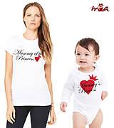 Tričká - mama a princezná (srdiečková súprava) = dámske tričko + detské body - 7081388_