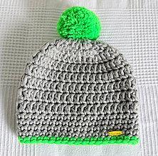 Detské čiapky - Sivo neónovo zelená čiapka - 7083176_