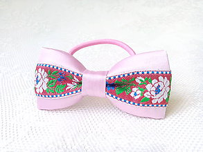 Ozdoby do vlasov - Slovak folklore hair bow (pink/red) - 7086927_