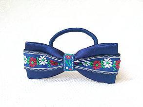 Ozdoby do vlasov - Slovak folklore hair bow (royal blue) - 7086940_