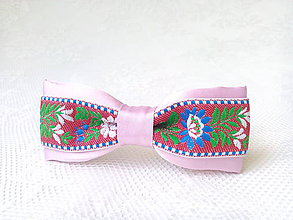 Ozdoby do vlasov - Mini Folklore hair clip (pink/red) - 7086994_