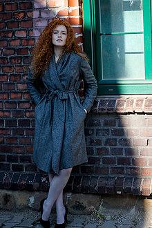 Kabáty - Šedý tvídový plášť CLAUDINE - 7086794_