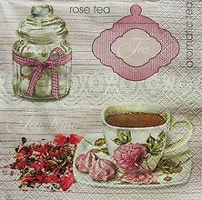 Papier - S774 - Servítky - tea, rose, tea time, čaj - 7084909_