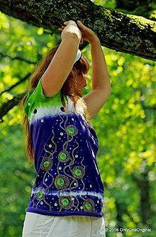 Tričká - Dámske tričko batikované a maľované, extravagantné  V ČUČORIEDKACH - 7084439_
