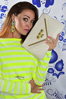 Kabelky - Listová kabelka Beige/Gold so soutache aplikáciou - 7089187_