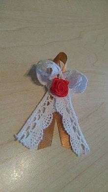Pierka - vintage pierka s ružičkou (červená saténová) - 6344021_