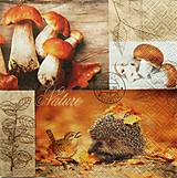 Papier - S773 - Servítky - hríby, huby, les, ježko, lístie - 7088509_