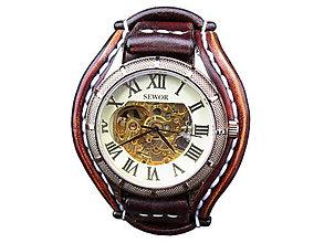 Náramky - Vintage hodinky pánske hnedé II - 7088188_