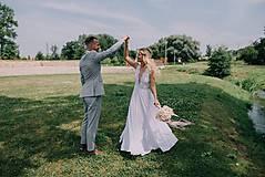 Šaty - Svadobné šaty s elastickým živôtikom a šifónovou sukňou - 7089142_