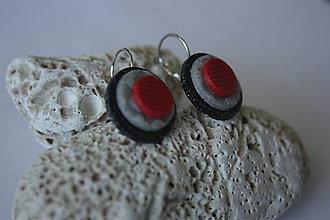 Náušnice - Červeno čierne kruhy - 7089800_