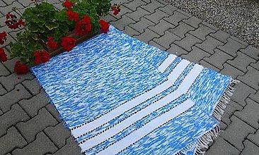 Úžitkový textil - Svetlo modrý chlpatý s bielym pásom - 7090320_