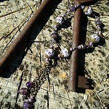 Sady šperkov - Vintage náramok s ametystom - 7093541_