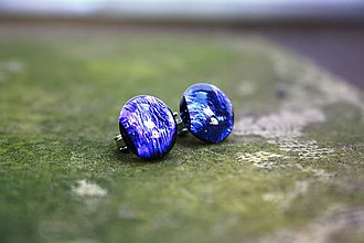 Náušnice - Visiace náušnice z dichroického skla - Modrofialové - 7093723_