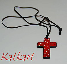 Iné šperky - Ručne maľovaný krížik - 7092613_
