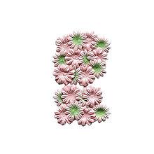 Papier - Tvarované kvetiny 20ks Ružové a ružovozelené - 7093392_
