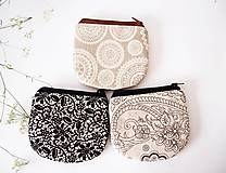 - Peňaženka - režná s bielymi mandalami - 7094436_