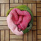 Šály - Nákrčník zeleno - ružový - 7094170_