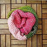 Šály - Nákrčník zeleno - ružový - 7094183_