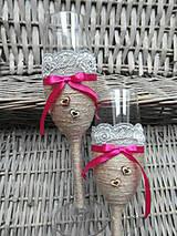 Nádoby - Svadobné poháre šedo-fuchsiové - 7092907_