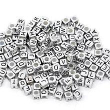 Korálky - Korálky abeceda strieborné kocky (balíček 500ks) - 7091592_