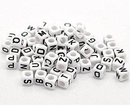 Korálky - Korálky písmená kocky (balíček 100ks) - 7091597_