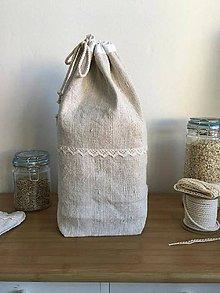 Úžitkový textil - Ľanové vrecúško z ručne tkaného ľanu 3v1 - 7095256_