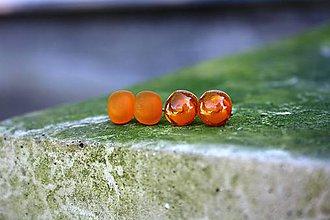 Náušnice - Puzetové náušničky Orange lesk+mat - 7097404_
