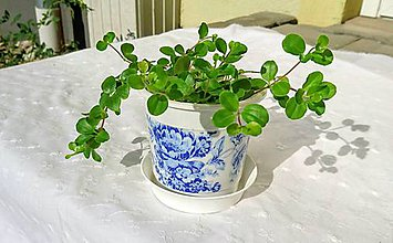 """Nádoby - Kvetináč Ø 10cm """"Blue Flowers"""" - 7096624_"""