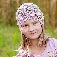 Detské čiapky - Staroružová čiapka s kvetom - 7096753_