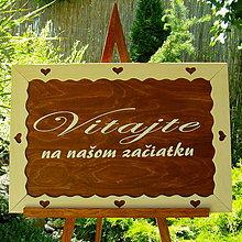 Tabuľky - Svadobná drevená tabuľka - 7096402_