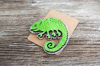 Odznaky/Brošne - Brošňa Chameleón Leon - 7097168_