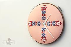 Hodiny - Jarná pieseň, ručne vyšívané nástenné hodiny - 7097014_