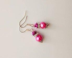 Náušnice - ružové perly s ružičkou - 7096932_